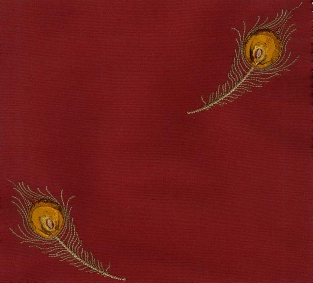 Embroidered Douppioni Yarn Dyed Shantung Silk Fabric 54 inch I-260