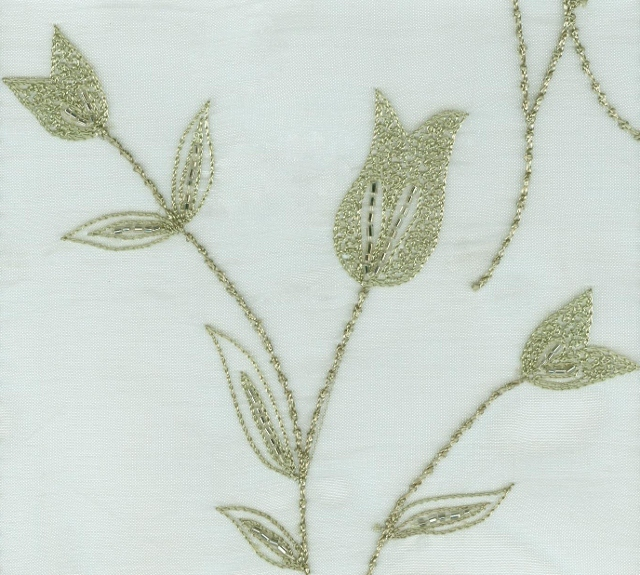 Embroidered Beaded Organza Silk Fabric I-155-311
