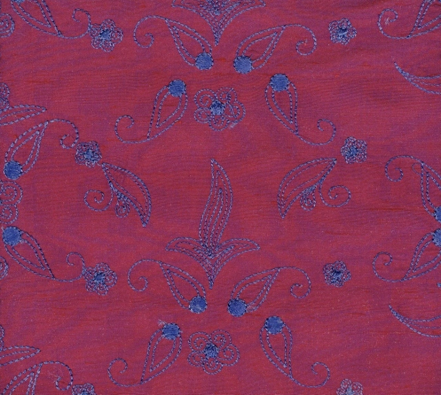 Embroidered Douppioni Yarn Dyed Shantung Silk Fabric I-135-1032