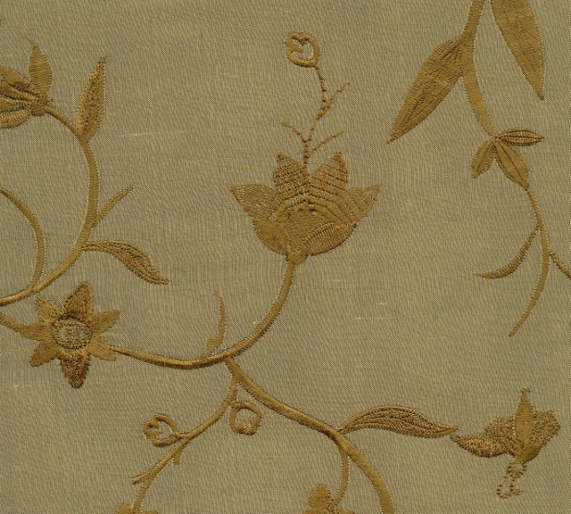 Embroidered Douppioni Yarn Dyed Shantung Silk Fabric I-218-1057
