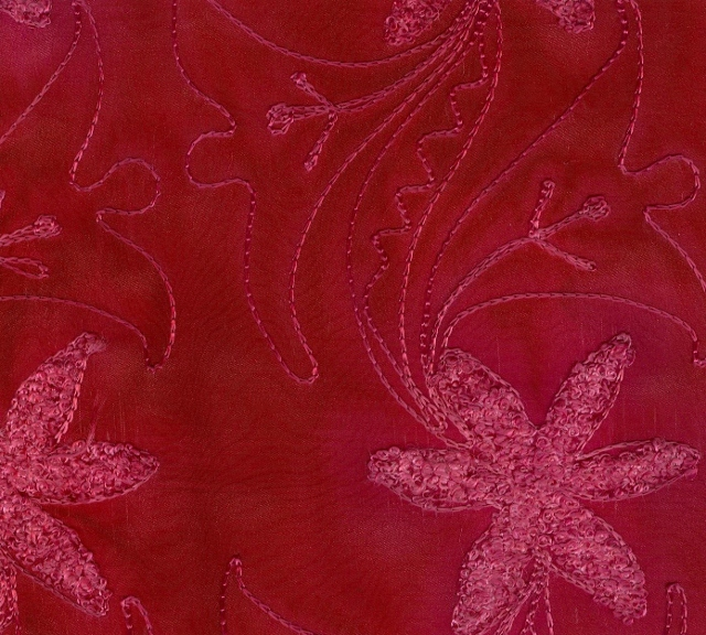 Embroidered Silk Crepe Fabric I-226
