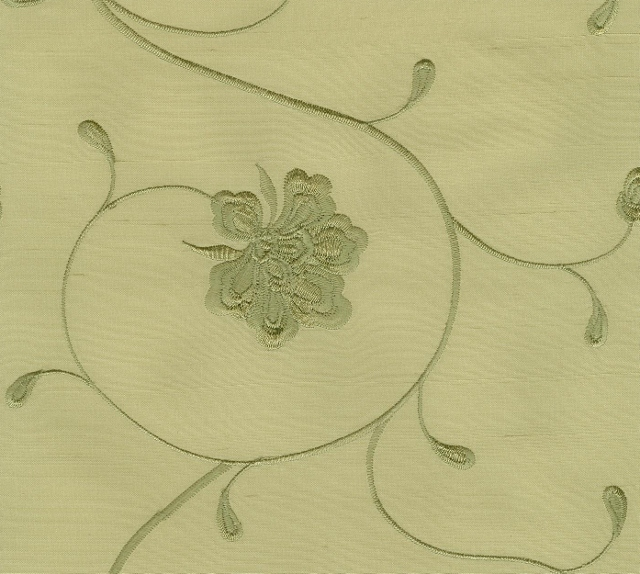 Embroidered Silk Douppioni Yarn Dyed Shantung Fabric I-168-1134