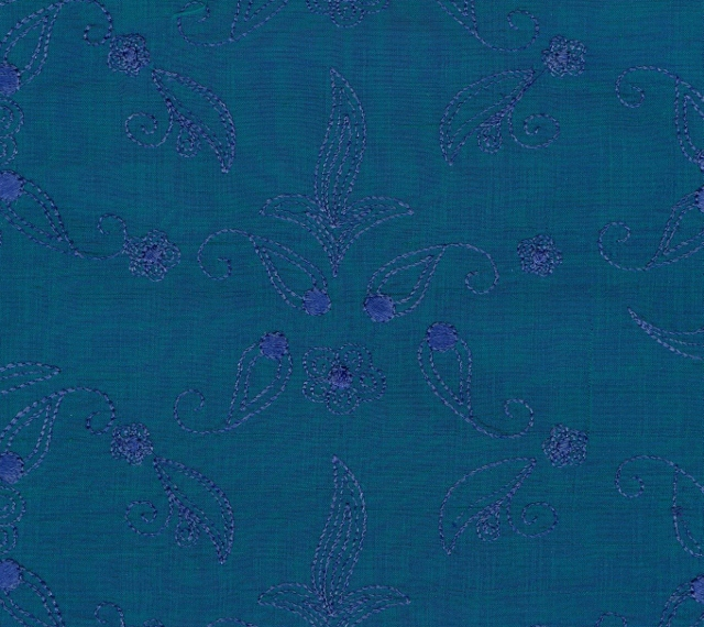 Embroidered Douppioni Yarn Dyed Shantung Silk Fabric I-135-1084