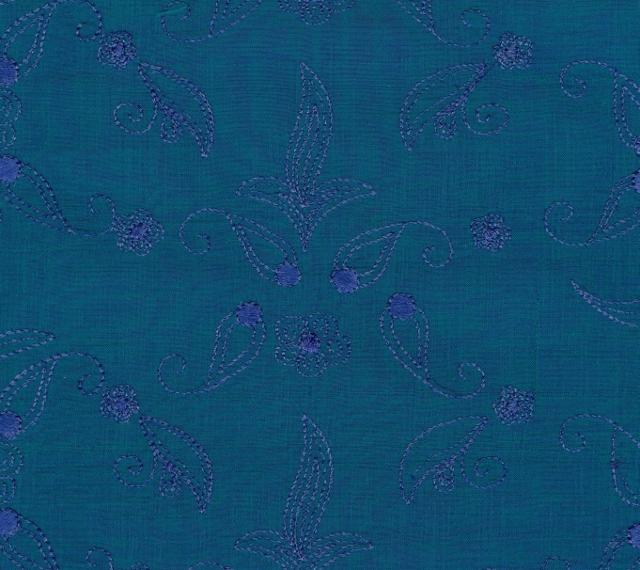 Embroidered Douppioni Yarn Dyed Shantung Silk Fabric I-135-1084